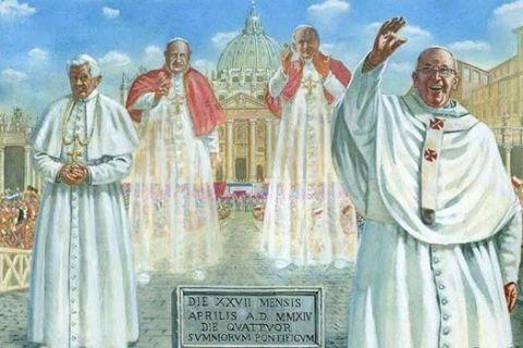 Cuatro Papas presentes